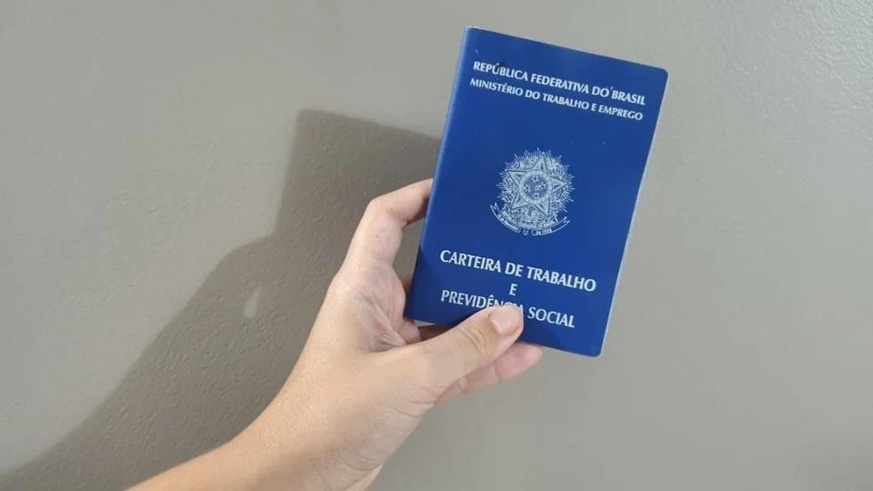 Taxa de desemprego: mão segurando carteira de trabalho