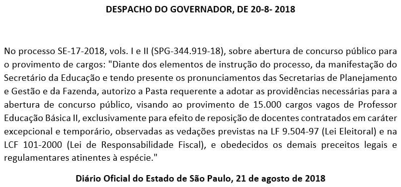 Autorização do governo do estado